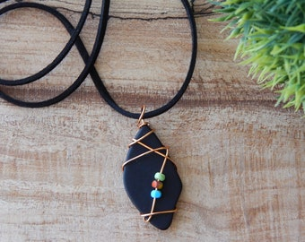 Colorful Necklace for Women, Wire Wrapped Black Glass Pendant, Stained Glass, Handmade Gifts for Mom Friend Sister