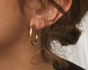 Trendy Gold Hoop Earrings, Christmas Gift for Her, Minimal Hoops, Small Silver Hoops, Classic Gold Creoles, Holiday Style, Stocking Stuffer