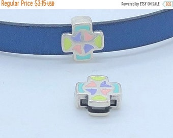 On Sale NOW 25%OFF Beautiful Pastel Enamel Cross Slider Beads For 10mm Flat Leather - Antique Silver - Z5491 - Qty 2
