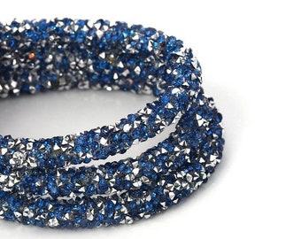 "On Sale NOW 25%OFF Beautiful 7mm Acrylic Rhinestone Pvc Wire Core Cord - Dk Blue / Silver - 16"""
