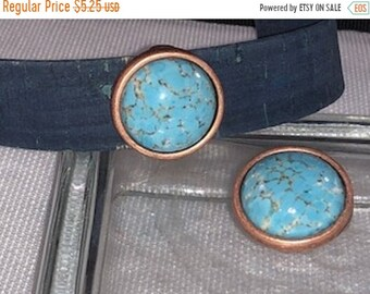 On Sale NOW 25%OFF Beautiful Green Turquoise Slider Bead For 20mm Flat Leather Cords - Antique Copper - Z5452 - Qty 1