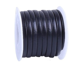 On Sale NOW 25%OFF Best Quality 5mm Flat Vegan Nappa Leather Cord  - Black - 24 Inches