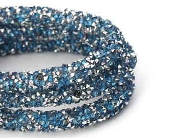 "On Sale NOW 25%OFF Beautiful 7mm Acrylic Rhinestone Pvc Wire Core Cord - Light Blue / Silver - 16"""