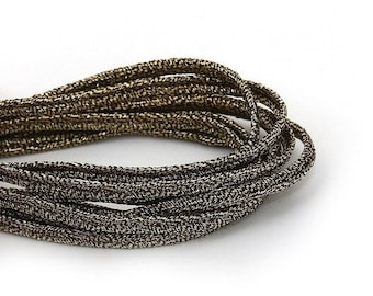 On Sale NOW 25%OFF 1 Yard (36 inches)  3mm Vegan Braided Leather Cord - Metallic Antique Gold