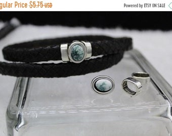 Z5748 Ant Silver Qty 1 Set On Sale Now Zamak Green Tea Agate 3-pc Slider Set For 10x6mm Licorice Leather Cord