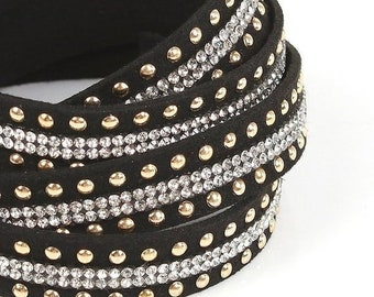 On Sale NOW 25%OFF Beautiful 15mm Flat Vegan Leather Cord With Double Row Rhinestones & Gold Studs - Black - 7.75 Inch
