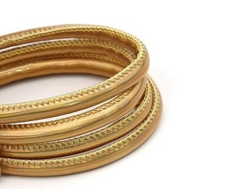 """On Sale NOW 25%OFF Beautiful 5mm Stitched Vegan Nappa Leather Cord - Metallic Gold AB - 24"""""""