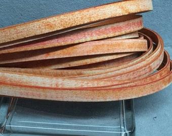 "10mm Best Quality Flat Buffalo Leather Cord Vintage Distressed Orange  24"""