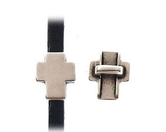On Sale Now Tiny Zamak Cross Sliders For 3mm Flat Leather - Antique Silver - Z4117 - Qty 2