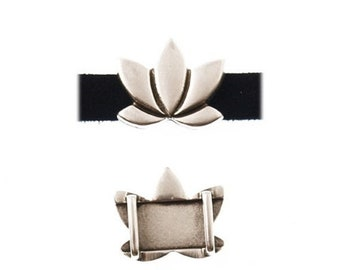 On Sale Now Beautiful Large Zamak Lotus Flower Focal Beads For 10mm Flat Leather - Antique Silver - Z5239 - Qty 2