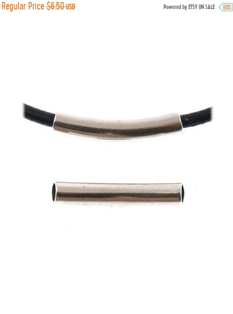 Qty 2 On Sale Now High Quality Zamak Curved Tube For Up To 6mm Round Leather Cord Z4727 Antique Silver