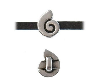 On Sale Now Tiny Zamak Greek Shell Sliders For 3mm Flat Leather - Antique Silver - Z5156 - Qty 2