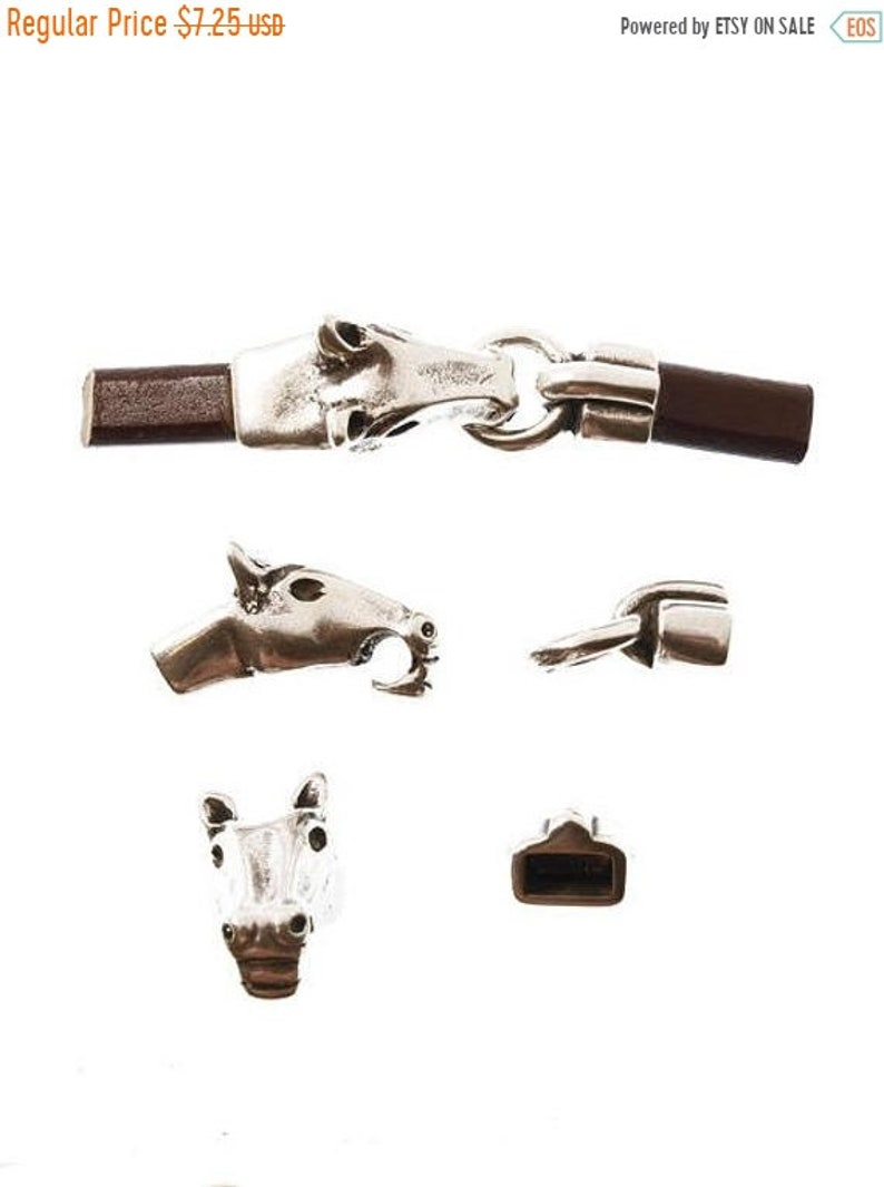 Antique Silver Qty 1 C879 On Sale Now Horse Head Clasp For 5mm Round Or 10x5mm Licorice Leather