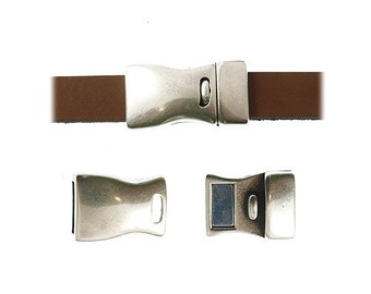 On Sale Now Curved Magnetic Clasp - For Use With 10mm Leather Cord - Antique Silver - C630 - Qty 1