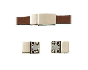 On Sale Now Tiny Strong Squared Magnetic Clasp For 5mm - 6mm Flat Leather Cord - Antique Silver - C848 - Qty 1