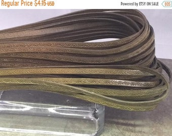 On Sale Now 2 Feet (24 inches)  Best Quality 5mm Embossed Flat Italian Leather Cord Olive Green