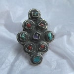 Vintage MATL STYLE RING; Taxco; Amethyst, Turquoise, and Coral, Oh My!
