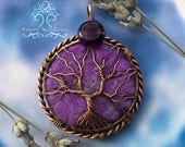 Aromatherapy Lavender and Amethyst Tree of Life Wire Wrapped Pendant Jewelry