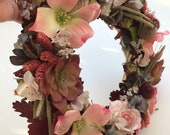Wreath for indoors,silk and dried flowers, pink and burgundy ,a garland of silk flowers, wall hanging decoration ,rustic wreath ,preserved