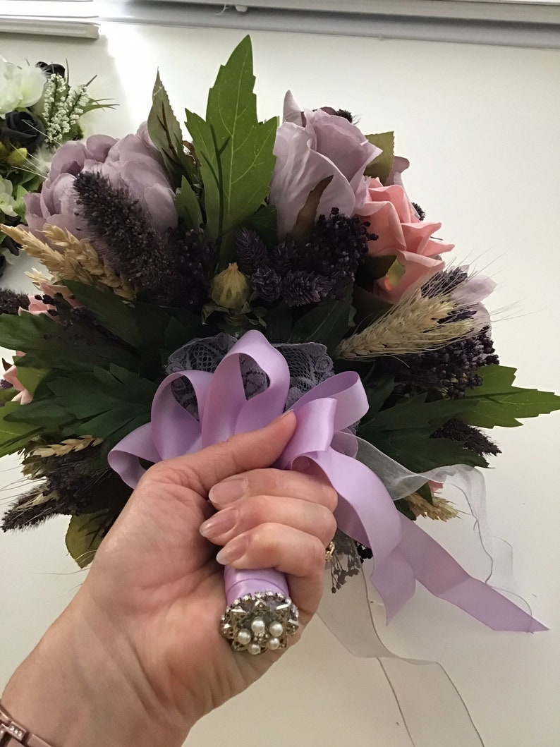 mauve lilac Dried and silk combination antique pink silk flowers dried grasses bouquet boho bride flowers vintage wedding style