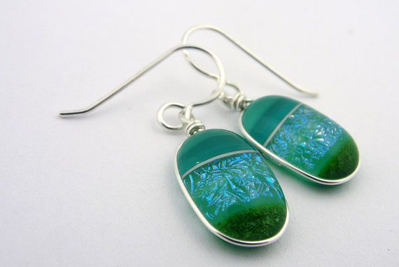 Dichroic Fused Glass Earrings Teal Green Forest Turquoise Blue Green Shimmer Greenwood