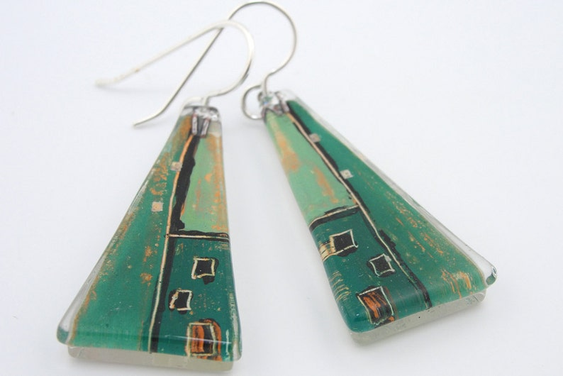 Fused Glass Earrings: Grünhaus Large Triangles image 0
