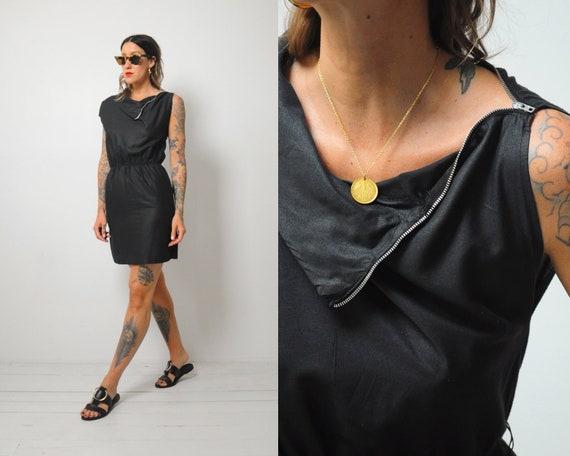 Black Zipper Collar Dress