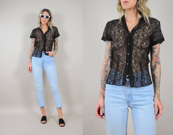 60's Sheer Black Lace Blouse