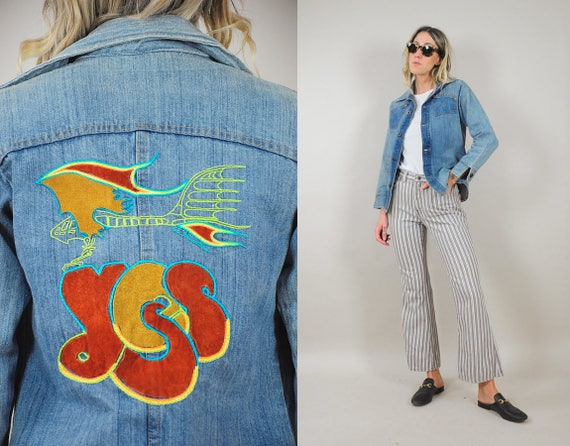 70's Embroidered YES Denim Shirt