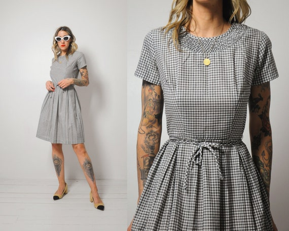 50's Gingham Shirt Dress