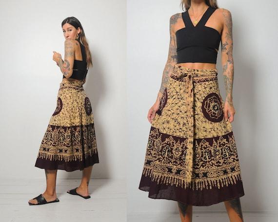 70's India Cotton Batik Wrap Skirt