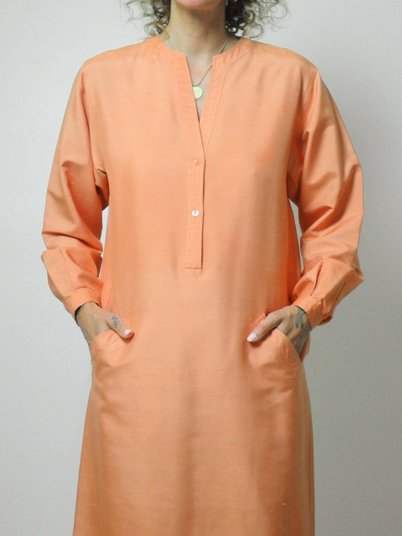Halston Raw Silk Minimal Dress - image 8
