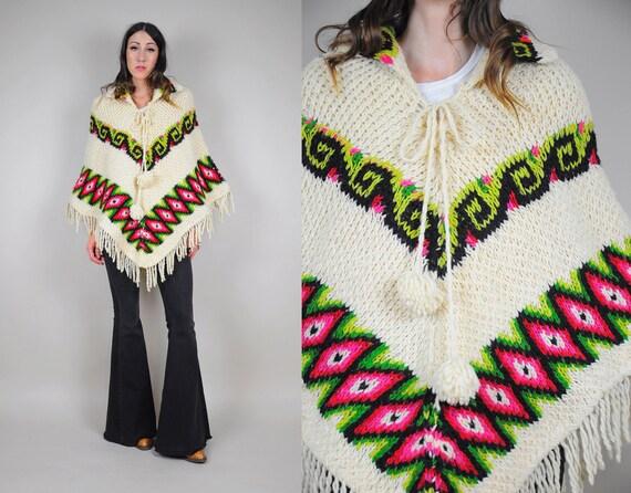 70's Aztec chevron sweater Poncho