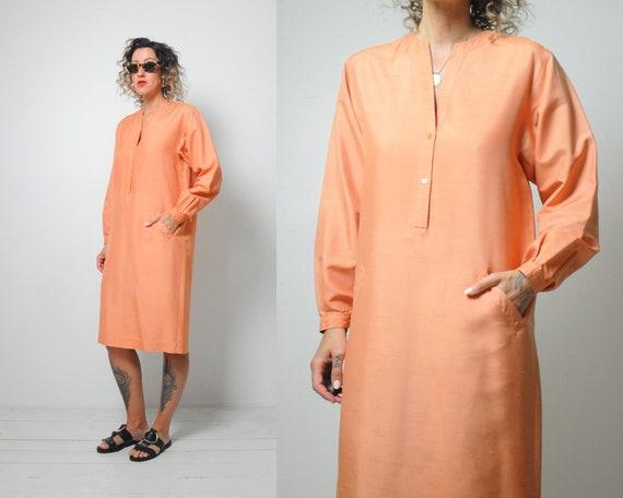 Halston Raw Silk Minimal Dress