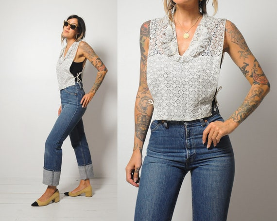 Antique Eyelet Lace dickie Blouse