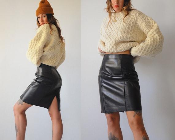 Kiera Black Leather Skirt