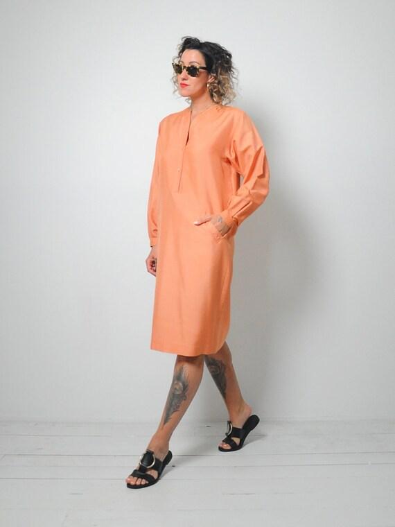 Halston Raw Silk Minimal Dress - image 4