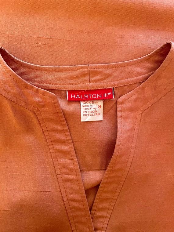 Halston Raw Silk Minimal Dress - image 9