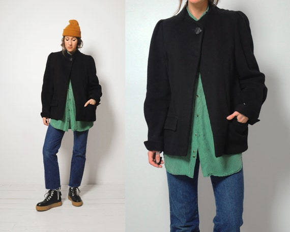 60s Black Cashmere Swing Coat