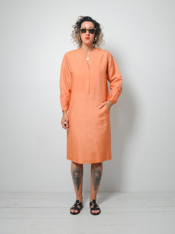Halston Raw Silk Minimal Dress - image 3