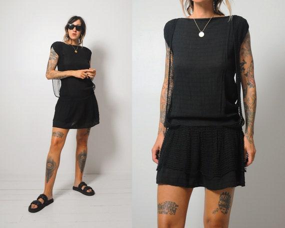 Black Crochet Gauze dress