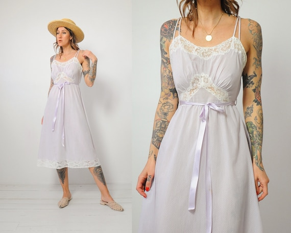 Lilac Swiss Dot Slip Dress