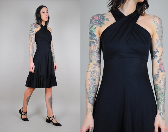 70s Black Halter Sundress