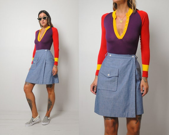 70's Denim Wrap Mini Skirt