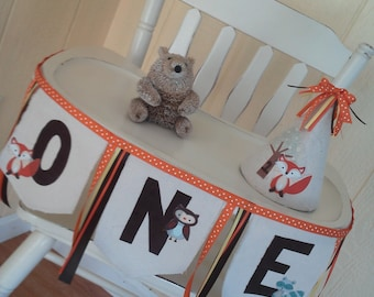 Woodland Creatures 1st Birthday Highchair Banner
