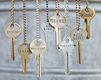 84e3dfdbbc Custom Text Key Necklace, Vintage Hand Stamped Giving Key Necklace,  Personalized Gift Jewelry