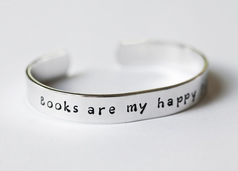 Books are my happy place  Literary Cuff Bracelet  Book image 0