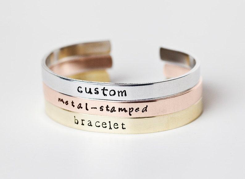 Custom Metal-Stamped Cuff Bracelet   Personalized Jewelry  image 0