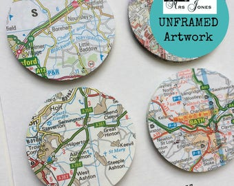 Custom wedding map etsy uk paper circle art personalised map picture custom wedding gift wedding gift for couple anniversary gift map circle unframed art gumiabroncs Images