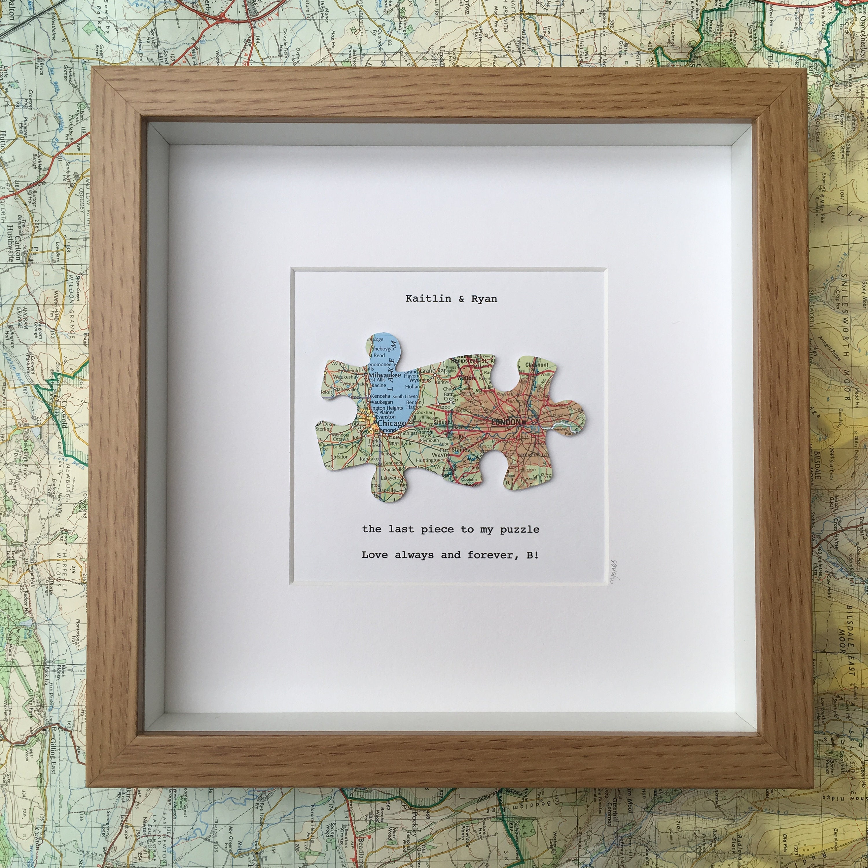 Jigsaw puzzle personalised maps - two maps - long distance relationship -  wedding love map art - deployment miss you gift - UK world maps